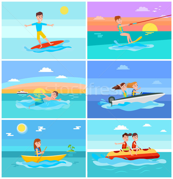 Summer Activities Set Seascape Vector Illustration Stock photo © robuart