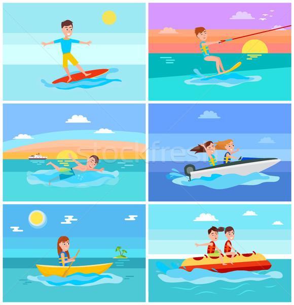 Verano actividades establecer marina verano surfista Foto stock © robuart