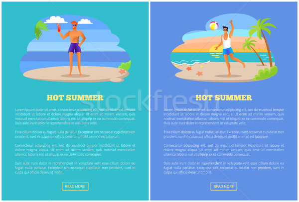 Hot Summer Web Posters Text, Guy Playing Ball Drink Stock photo © robuart