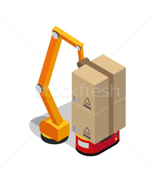 Carton Boxes Set and Special Transportation Robot Stock photo © robuart