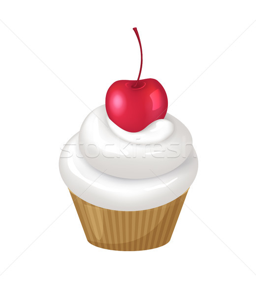 Cupcake with Whipped Cream Swirl and Cherry on Top Stock photo © robuart