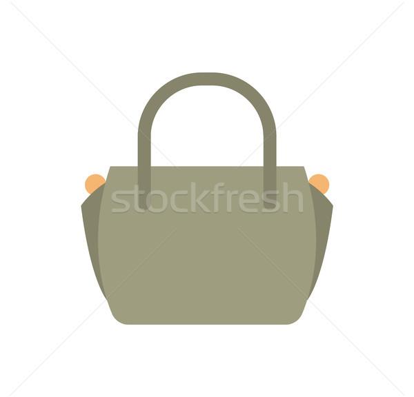 Moda kadın deri çanta gri renk Stok fotoğraf © robuart