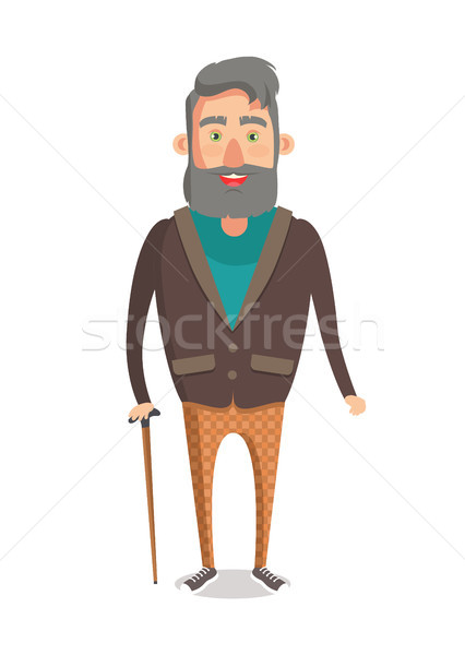 Fiatal nagypapa mosolyog rajzfilmfigura idős férfi Stock fotó © robuart