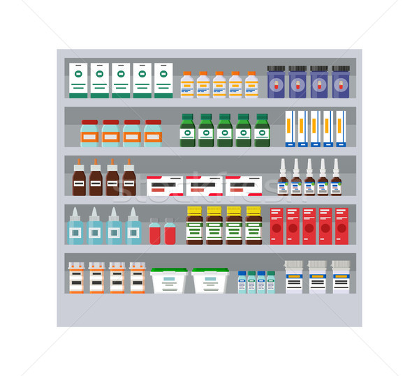 Shelves with Different Medicines in Pharmacy Card Stock photo © robuart