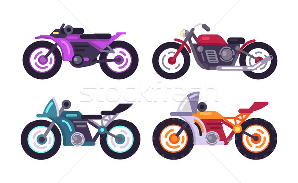 Set of Sportive Bikes Isolated Motorized Vehicles Stock photo © robuart