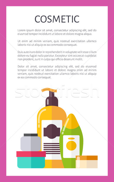 Cosmetic Card, Various Vials Vector Illustration Stock photo © robuart