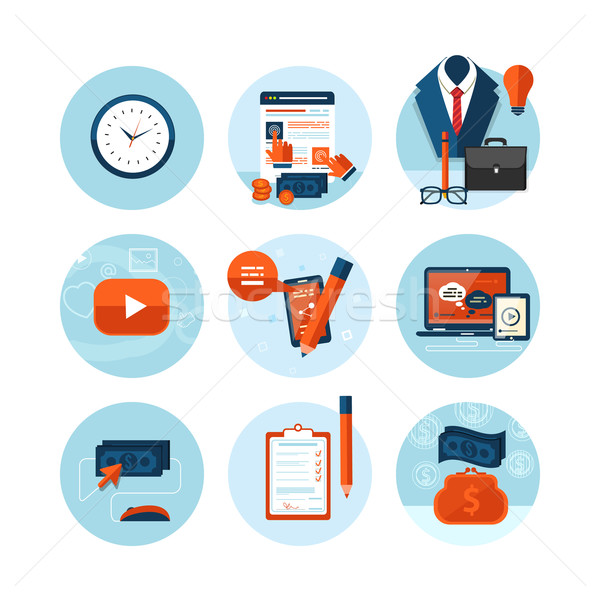 Stock photo: Business, office and marketing items icons.