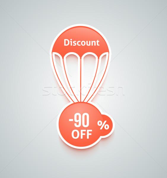 Korting parachute ingesteld gesneden papier Rood Stockfoto © robuart