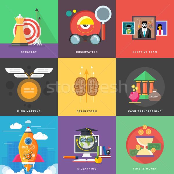Ikona pieniężnych strategii początku w górę planowania Zdjęcia stock © robuart