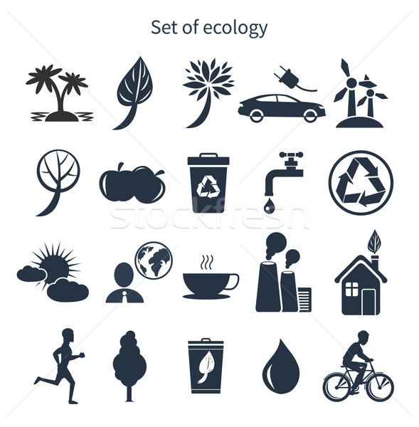 Groene energie ecologie zwarte kleur witte Stockfoto © robuart