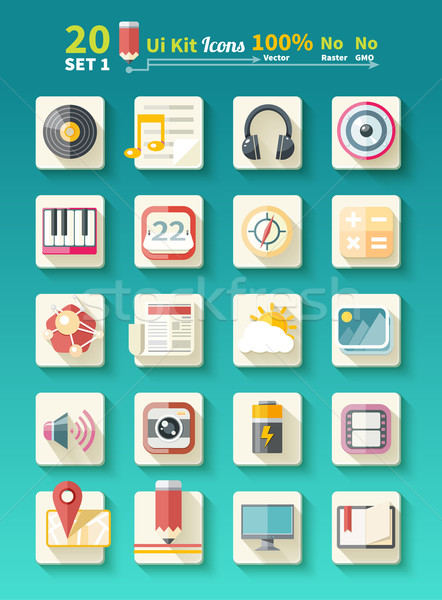 Set of icons music for app Stock photo © robuart