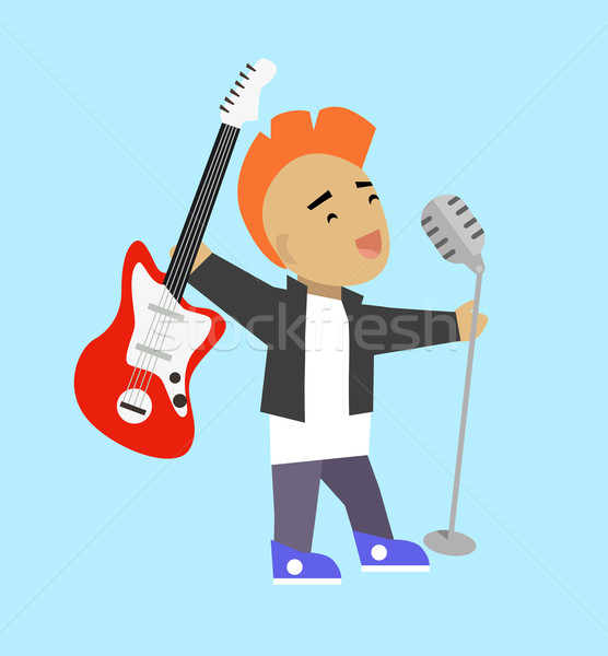 Singer Guitarist with Microphone and Guitar Stock photo © robuart