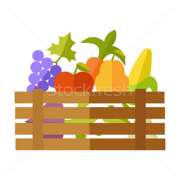 Сток-фото: свежие · плодов · овощей · рынке · вектора · дизайна