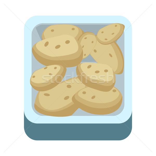 Сток-фото: картофель · лоток · дизайна · иллюстрация · вектора · стиль