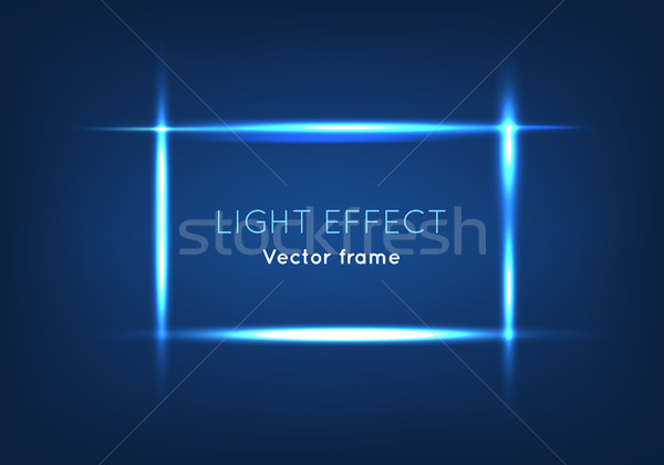 Blue Line Vector Frame Made with Light Effect Stock photo © robuart