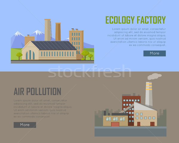 Ecology Factory and Air Pollution Plant Banners. Stock photo © robuart