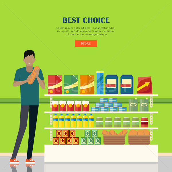 Banner for Supermarkets and Grocery Stores. Stock photo © robuart