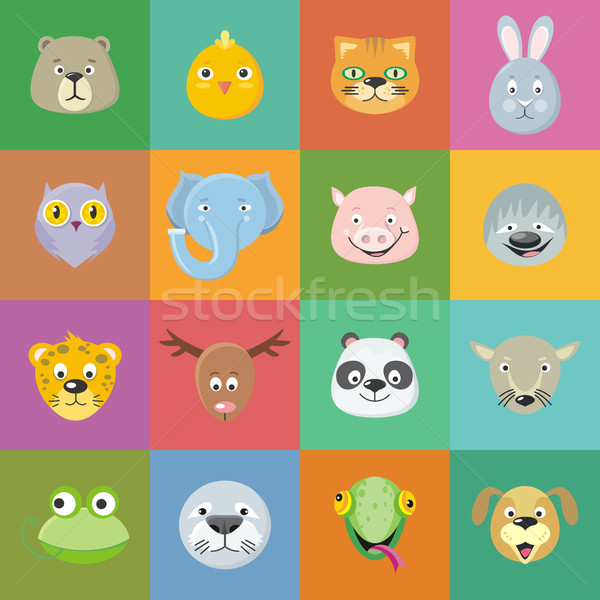 Collection of Cute Animal Faces. Head Icon Set. Stock photo © robuart