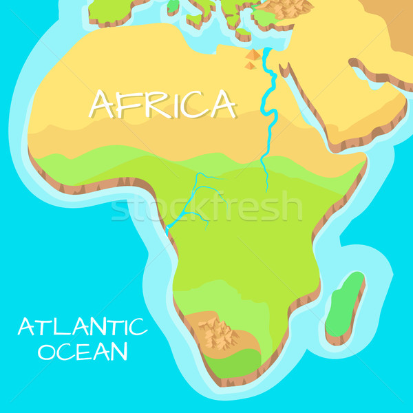 Africa Isometric Map with Natural Attractions. Stock photo © robuart