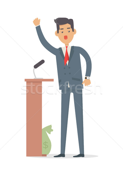 Politician Speaks to Audience from Tribune. Vector Stock photo © robuart
