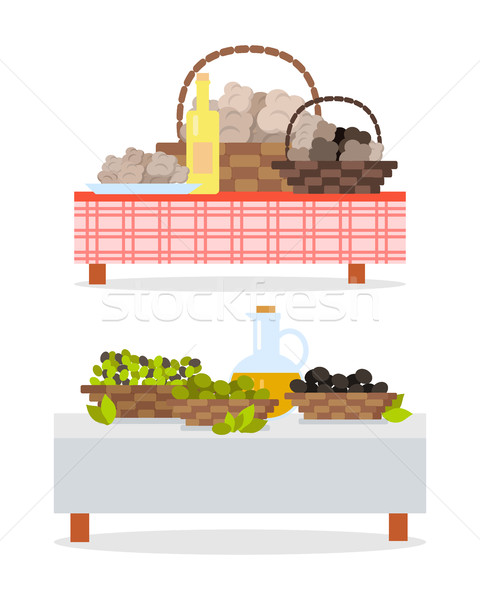 Table with Bottle of Wine and Oil Jug and Baskets Stock photo © robuart