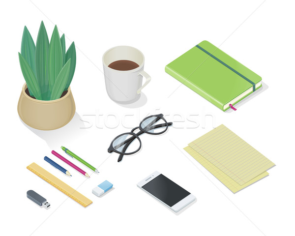 Top view of desk with personal accessories Vector Stock photo © robuart
