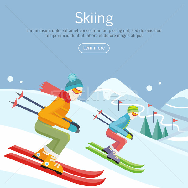 Skiing Banner. Skiers on Snowy Slope Competition. Stock photo © robuart