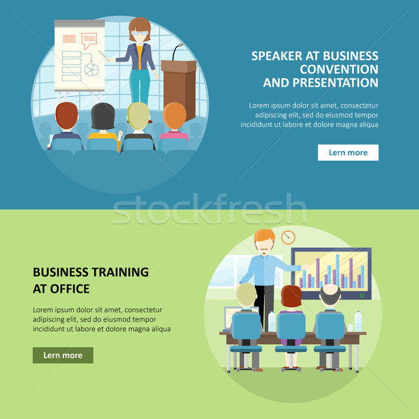 Set of Business Education Vector Web Banners. Stock photo © robuart