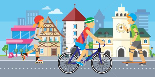 子供 スポーツ 都市 市 風景 町 ストックフォト © robuart