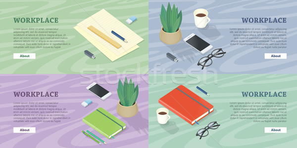Workplace Web Banners Set in Isometric Projection Stock photo © robuart