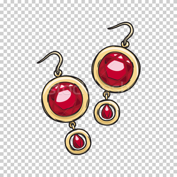 Luxurious Gold Ruby Earrings Isolated Illustration Stock photo © robuart