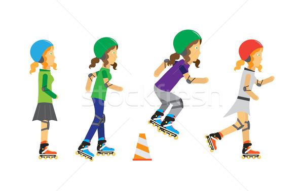 Roller Skater Girls Vector in Flat Design Stock photo © robuart