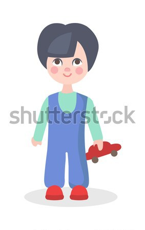 Stock fotó: Kicsi · fiú · játszik · autó · játék · vektor