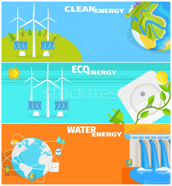Clean Eco Water and Wind Energy Illustrations Set Stock photo © robuart