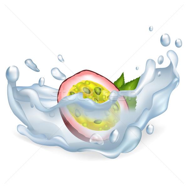 Egzotikus szenvedély gyümölcs tiszta víz cseppek vektor Stock fotó © robuart