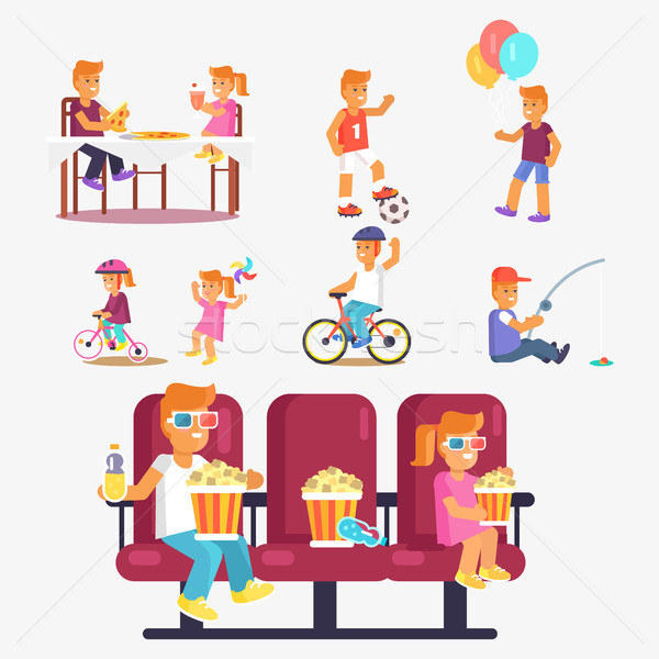 Entertaining Children in Cinema, Riding Bike etc Stock photo © robuart