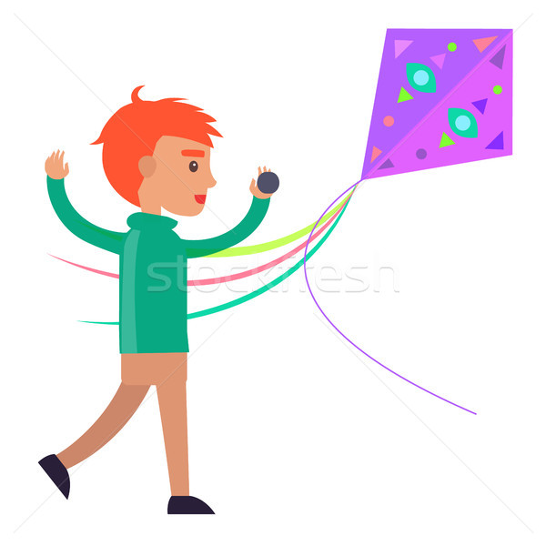 Redhead Boy Plays with Colorful Kite Illustration Stock photo © robuart
