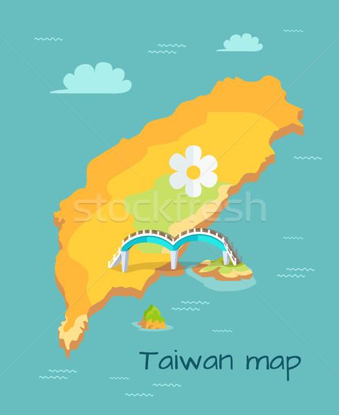 New Moon Bridge Marked on Taiwan Map Illustration Stock photo © robuart