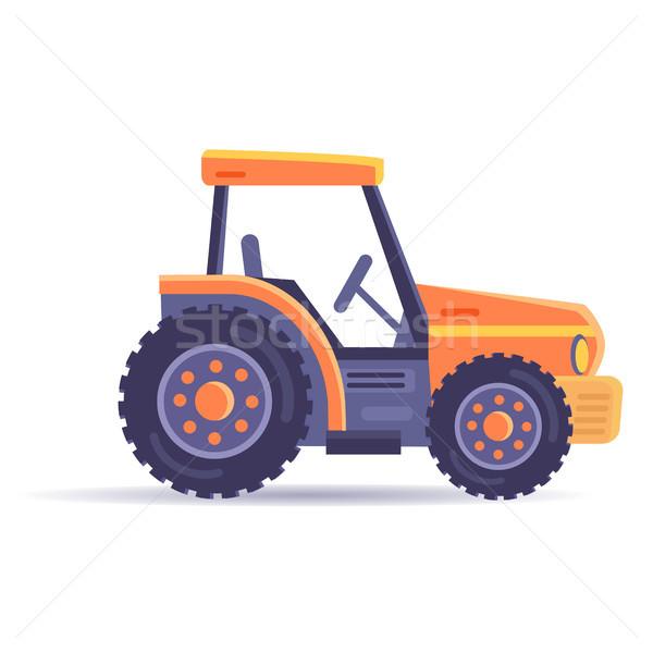 Kotrógép traktor jármű izolált fehér vektor Stock fotó © robuart
