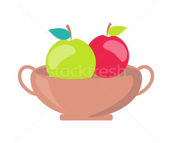 Vazo elma minimalist vektör şablon iki Stok fotoğraf © robuart