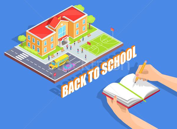 Okula geri örnek mavi yalıtılmış karikatür stil Stok fotoğraf © robuart