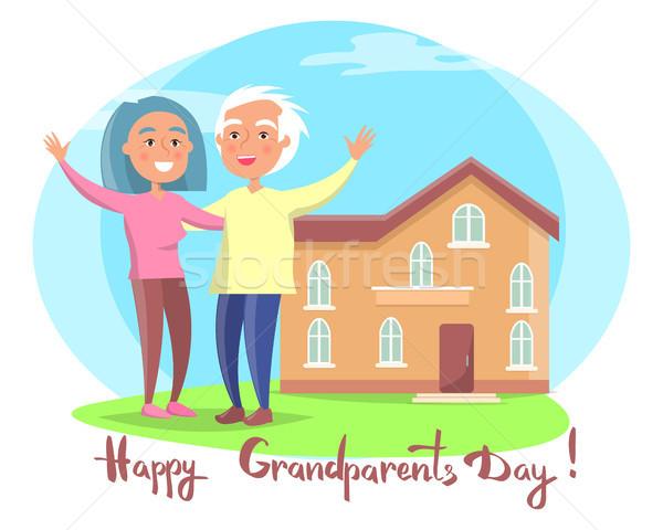 Gelukkig grootouders dag paar huis vector Stockfoto © robuart