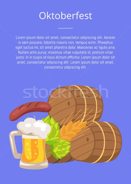 Oktoberfest poster houten bier mok Stockfoto © robuart