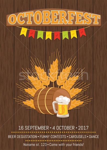 Oktoberfest promóciós poszter képek búza hordó Stock fotó © robuart
