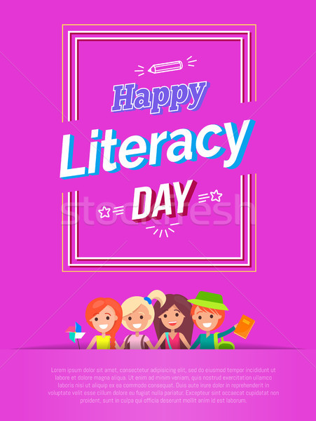 Happy Literacy Day Vector Illustration on Pink Stock photo © robuart