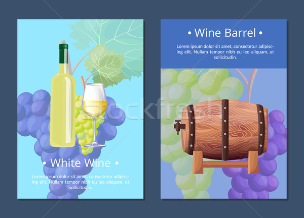 White Wine and Barrel Posters Vector Illustration Stock photo © robuart
