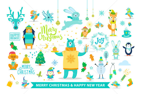 Merry Christmas and Happy New Year with Animals Stock photo © robuart