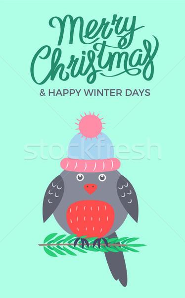 Merry Christmas Green Poster Vector Illustration Stock photo © robuart