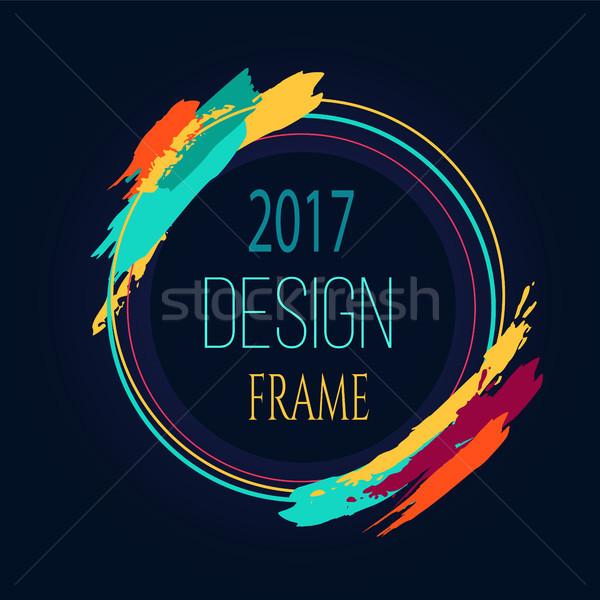 Frame Design 2017 Round Bright Border Art Brush Stock photo © robuart