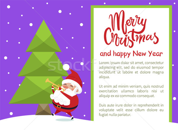 Foto stock: Alegre · natal · feliz · ano · novo · cartaz · árvore
